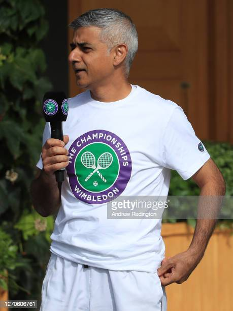 London Mayor Sadiq Khan speaks to key workers at the All England Lawn Tennis Club at Wimbledon on September 04, 2020 in London, England. The mayor's...