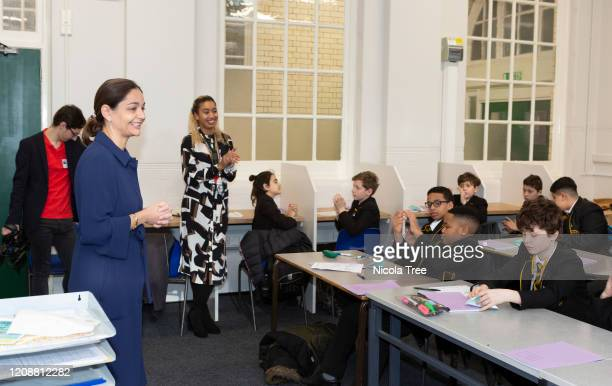 London Mayoral Candidate for the Liberal Democrats, Siobhan Benita, visits Fulham College Boy's School to participate in a year seven lesson for...