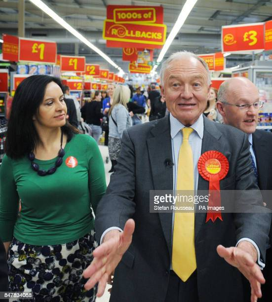 London Mayoral candidate Ken Livingstone campaigns at an Asda supermarket in south east London today with Labour MP Caroline Flint