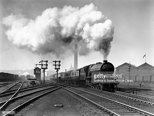 London Midland Scottish Railway Princess Class steam locomotive No 6208 Princess Helena Victoria leaving Edge Hill with a train from Liverpool to the...