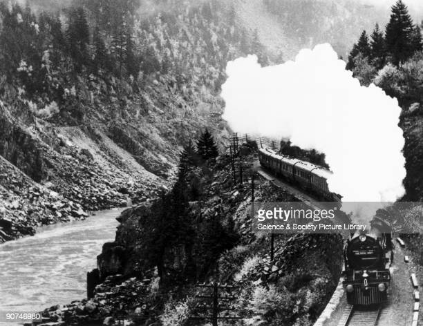 London Midland Scottish steam locomotive No 6100 Royal Scot in the Rocky Mountains in British Columbia during the engine's tour of the Canadian...