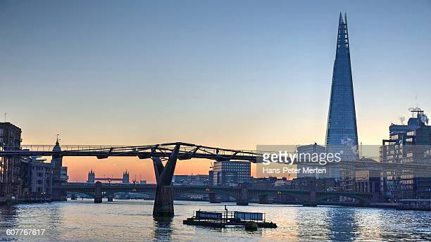 london, millenium bridge, the shard - prop stock pictures, royalty-free photos & images