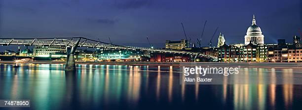 UK, London, Millennium Bridge and St Paul's Cathedral , dusk