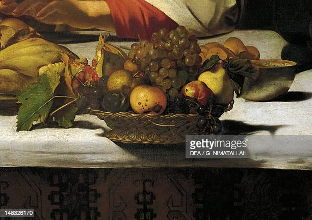 London National Gallery Basket of fruit detail from the Supper at Emmaus by Michelangelo Merisi da Caravaggio oil on canvas 141x1962 cm