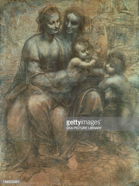 London National Gallery The Virgin and Child with St Anne and St John the Baptist or Burlington House Cartoon 14991500 by Leonardo da Vinci drawing...