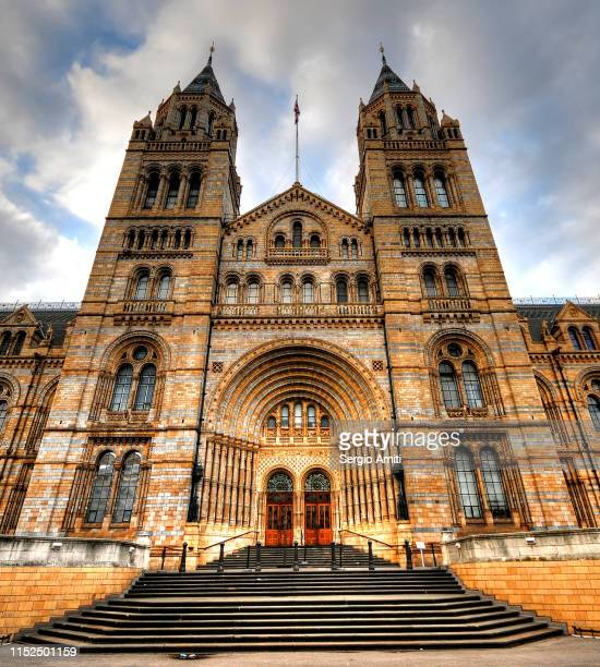 london natural history museum facade - natural history museum london stock pictures, royalty-free photos & images