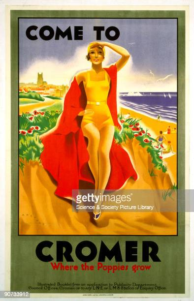 London North Eastern Railway and London Midland Scottish Railway poster promoting rail travel to Cromer in Norfolk A woman in bathing costume sits on...