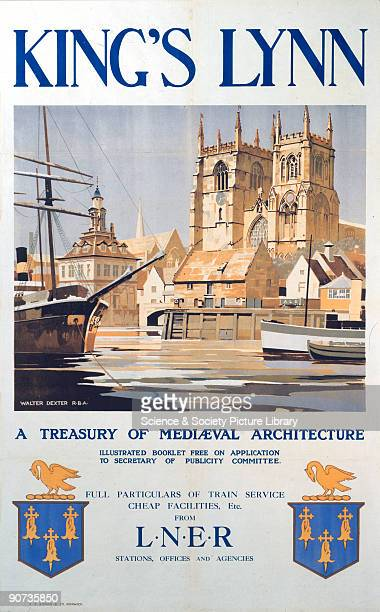 London North Eastern Railway poster advertising rail services to the Norfolk town of King's Lynn Artwork by Walter Dexter