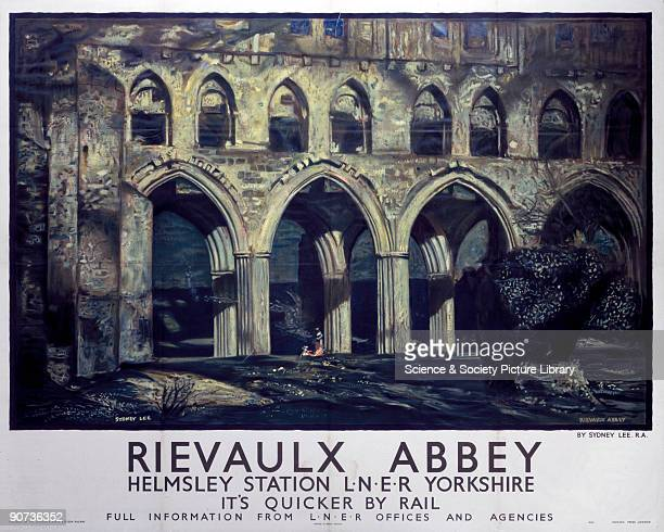 London & North Eastern Railway poster advertising services to Rievaulx Abbey in Yorkshire. Artwork by Sydney Lee.