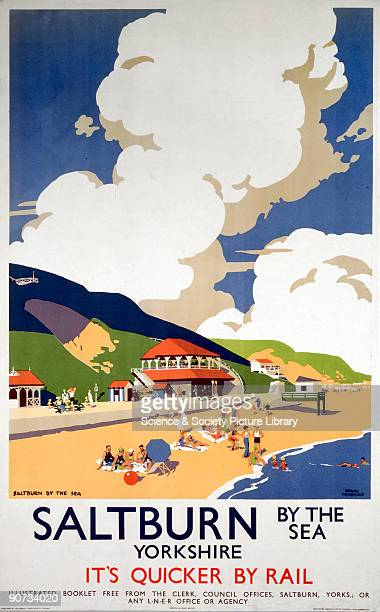 London North Eastern Railway poster promoting rail travel to Saltburn Cleveland Artwork by Frank Newbould
