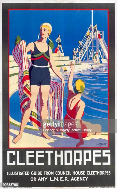 London North Eastern Railway poster showing a swimming pool with two bathers in the foreground Artwork by Templeton