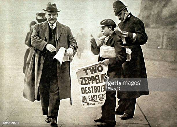 London November 28 World War I Announcing the news of a Zeppelin raid on England newspaper vendor in a London street