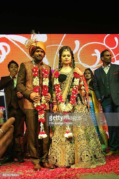 London Olympics bronze medallist and Indian Wrestler Yogeshwar Dutt and Sheetal Sharma, daughter of Haryana Congressman Jaibhagwan Sharma during...