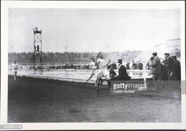 London Olympics M W Shephard wins the 1500 metres for the USA at the 1908 Olympiad held in London London England
