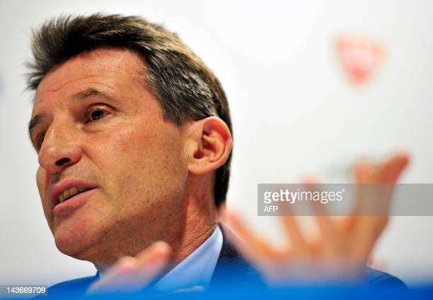 London Organising Committee of the Olympic and Paralympic Games Chairman Sebastian Coe speaks during a press conference ahead of the BUCS Outdoor...