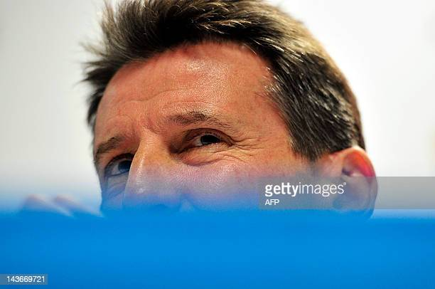 London Organising Committee of the Olympic and Paralympic Games Chairman Sebastian Coe attends a press conference ahead of the BUCS Outdoor Athletics...