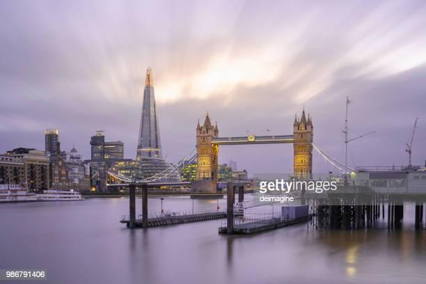 london panorama, tower bridge and the shard skyscraper illuminated - london bridge england stock pictures, royalty-free photos & images
