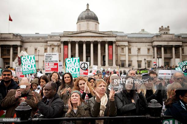 london peace protesters. - peace demonstration stock photos and pictures