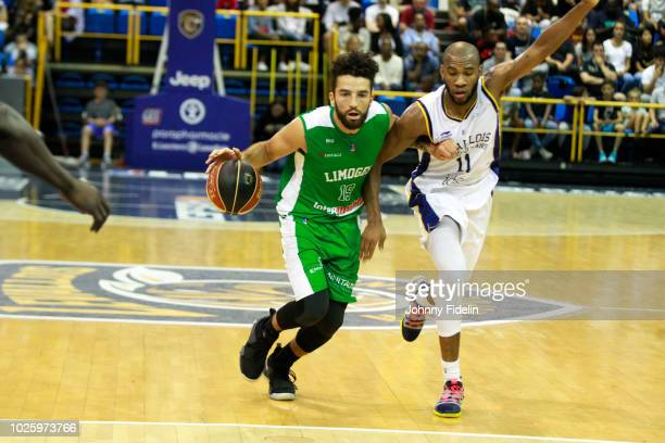 London Perrantes of Limoges and Rasheed Sulaimon of Levallois during the Trophy Michael Brooks match between Levallois Metropolitans and Limoges on...