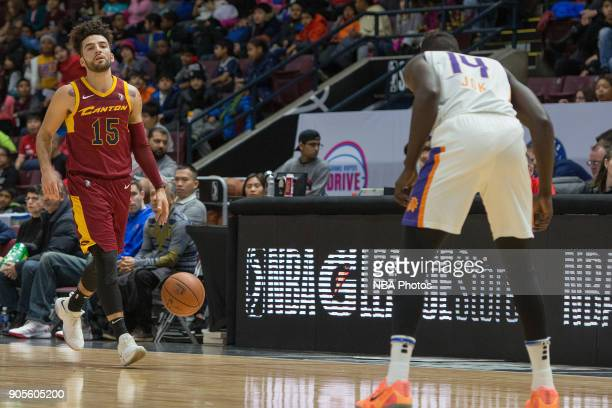 London Perrantes of the Canton Charge dribbles the ball against the Northern Arizona Suns during the NBA GLeague Showcase on January 12 2018 at the...