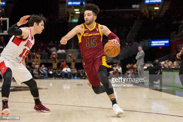 London Perrantes of the Canton Charge handles the ball against the Windy City Bulls on December 28 2017 at Quicken Loans Arena in Cleveland Ohio NOTE...