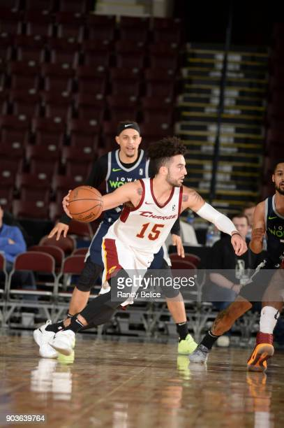 London Perrantes of the Canton Charge handles the ball against the Iowa Wolves NBA G League Showcase Game 7 between the Iowa Wolves and Canton Charge...