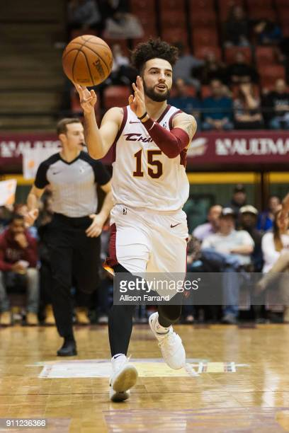 London Perrantes of the Canton Charge handles the ball against the Greensboro Swarm on January 27 2018 at Canton Memorial Civic Center in Canton Ohio...