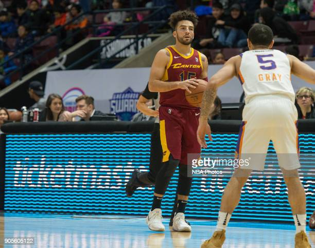 London Perrantes of the Canton Charge holds the ball against the Northern Arizona Suns during the NBA GLeague Showcase on January 12 2018 at the...
