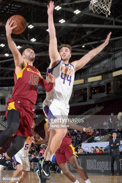 London Perrantes of the Canton Charge shoots the ball against Eric Stuteville of the Northern Arizona Suns during the GLeague Showcase on January 12...