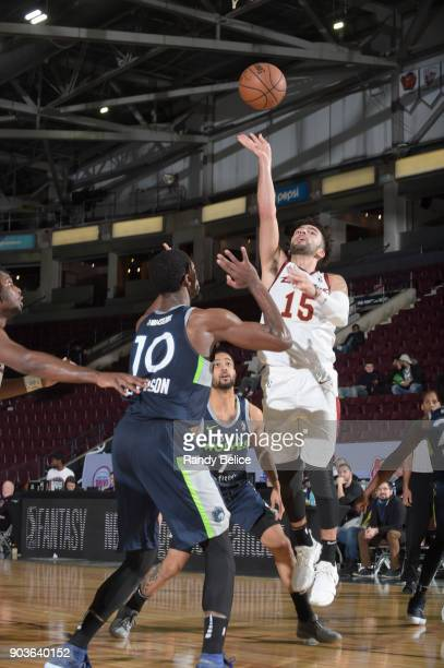 London Perrantes of the Canton Charge shoots the ball against the Iowa Wolves NBA G League Showcase Game 7 between the Iowa Wolves and Canton Charge...