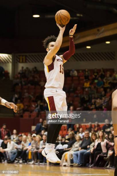 London Perrantes of the Canton Charge shoots the ball against the Greensboro Swarm on January 27 2018 at Canton Memorial Civic Center in Canton Ohio...