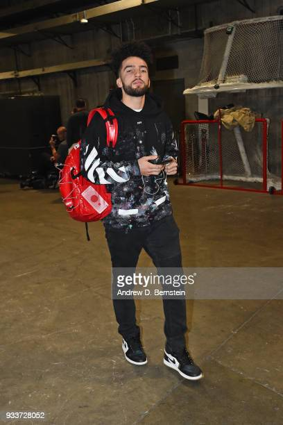 London Perrantes of the Cleveland Cavaliers arrives to the arena prior to the game against the LA Clippers on March 9 2018 at STAPLES Center in Los...