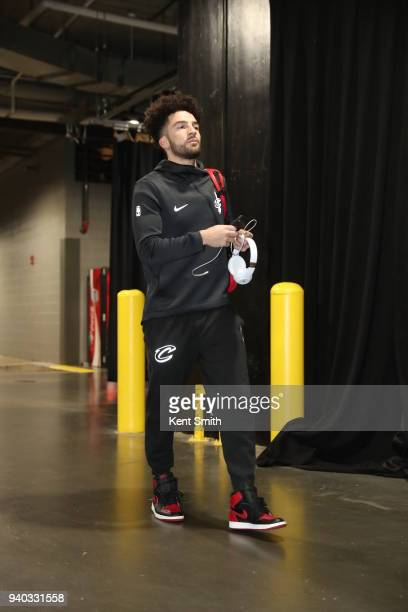 London Perrantes of the Cleveland Cavaliers arrives to the arena prior to the game against the Charlotte Hornets on March 28 2018 at Spectrum Center...