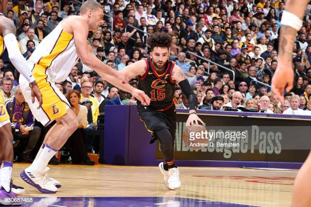 London Perrantes of the Cleveland Cavaliers handles the ball against the Los Angeles Lakers on March 11 2018 at STAPLES Center in Los Angeles...