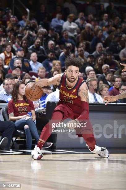 London Perrantes of the Cleveland Cavaliers handles the ball against the New York Knicks on April 11 2018 at Quicken Loans Arena in Cleveland Ohio...