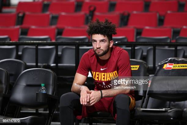 London Perrantes of the Cleveland Cavaliers is seen before the game against the Portland Trail Blazers on March 15 2018 at the Moda Center Arena in...