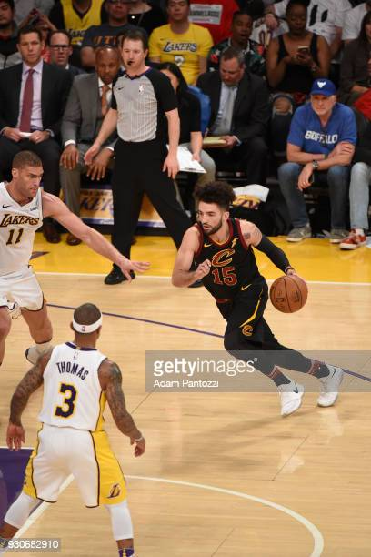 London Perrantes of the Cleveland Cavaliers Lakers handles the ball against the Los Angeles Lakers on March 11 2018 at STAPLES Center in Los Angeles...