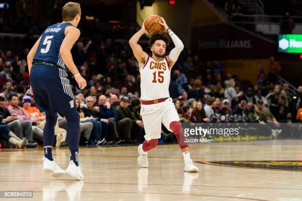 London Perrantes of the Cleveland Cavaliers passes against the Detroit Pistons during the second half at Quicken Loans Arena on March 5 2018 in...