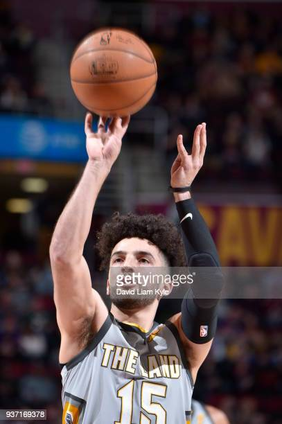 London Perrantes of the Cleveland Cavaliers shoots a free throw against the Phoenix Suns on March 23 2018 at Quicken Loans Arena in Cleveland Ohio...