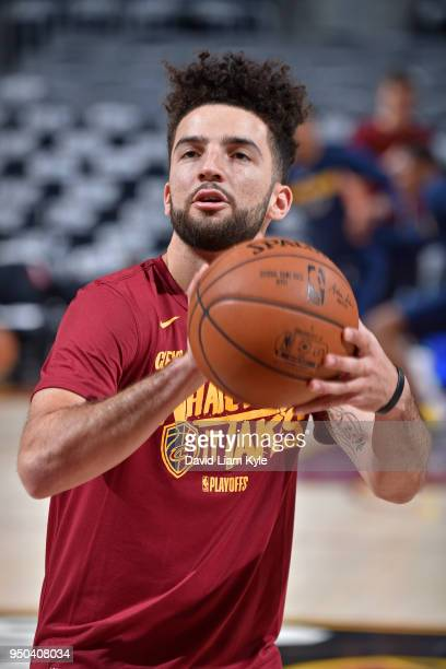 London Perrantes of the Cleveland Cavaliers warms up before the game against the Indiana Pacers in Game Two of Round One during the 2018 NBA Playoffs...