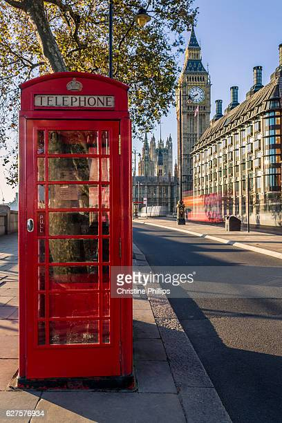 London Phone booth and the Houses of Parliament on a bright sunny London morning in Autumn