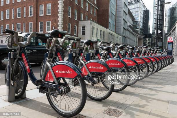 london - bicycle parking station stock photos and pictures