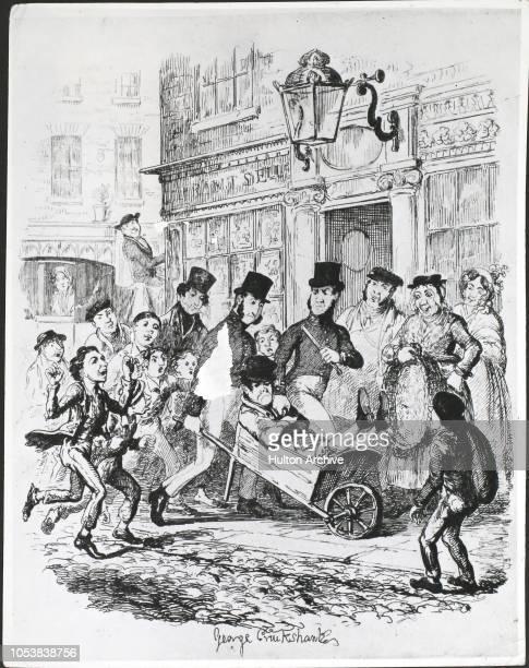 London police officers or 'peelers', London, England, 1839. A cartoon by George Cruikshank.