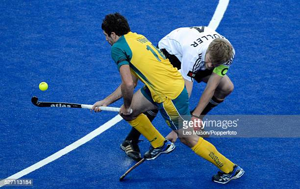 London Prepares Series field Hockey InvitationalMens Final Riverbank Arena Olympic Park Germany Vs Australia Russel Ford AUS left0 and Max Mueller GER