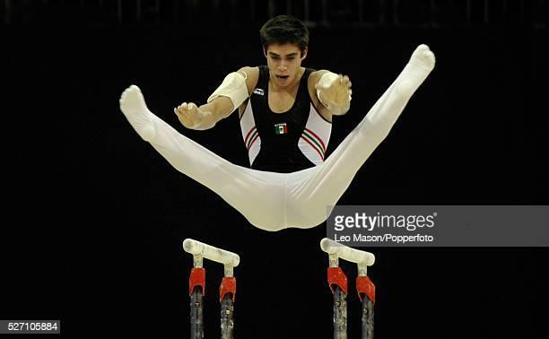 London Prepares Series Olympic Gymnastics Test Event North Greenwich Arena London UK Mens Parallel Bars Daniel Barron Corral MEX