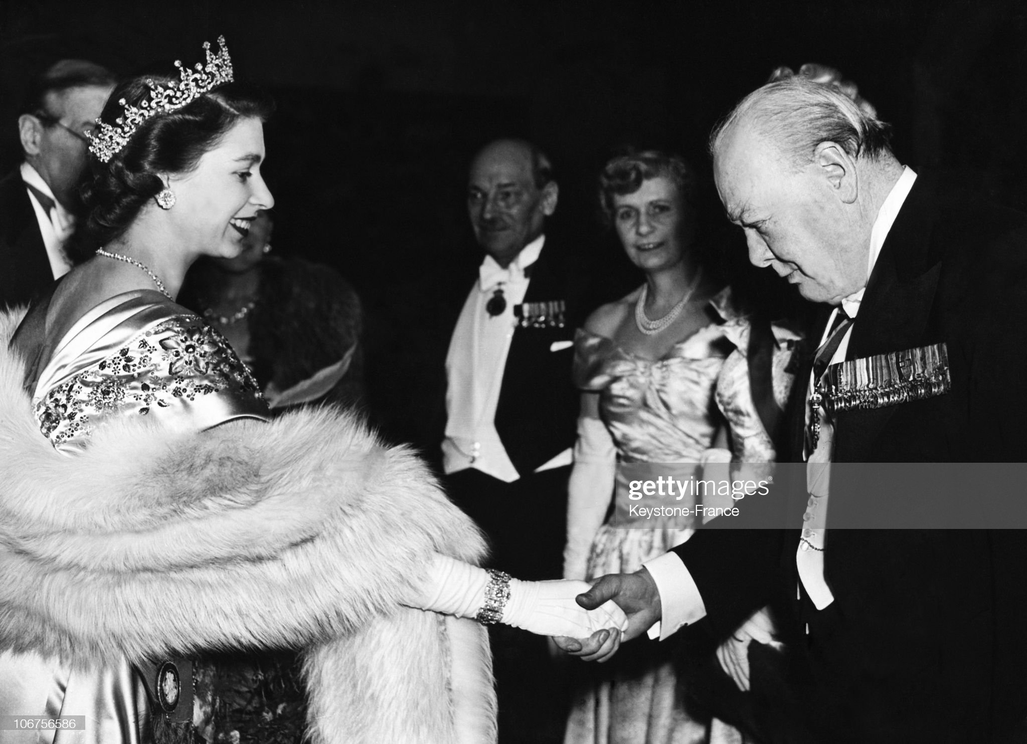 London, Princess Elizabeth Greeting Winston Churchill At Guildhall. March 23Rd 1950 : News Photo