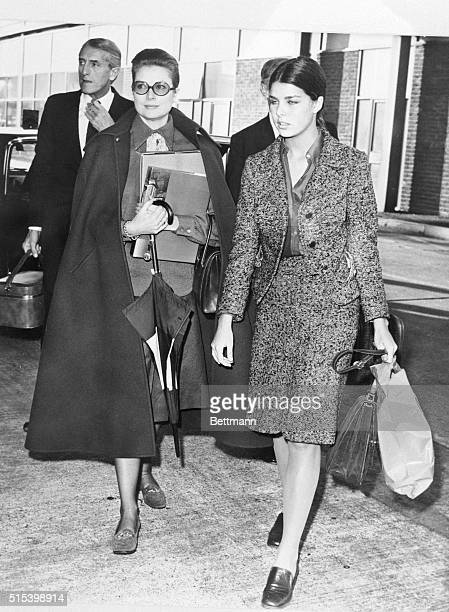 Princess Grace of Monaco and her very grownup daughter Princess Caroline leave Heathrow Airport for Nice They young princess has just begun a...