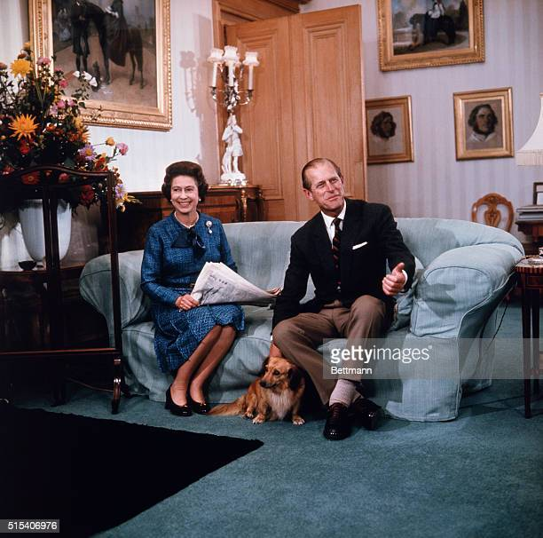 Queen Elizabeth II and Prince Philip relax at Balmoral castle in this 9/76 photo released when she formally opened Parliament last month the year...