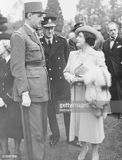 Queen Visits Free French Convalescent Home Queen Elizabeth is shown chatting with General Charles De Gaulle on her recent visit to the Convalescent...