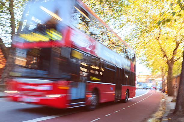London Red Double Decker Bus Driving At Street,abstract,UK Wall Art